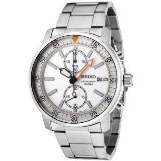 Seiko Mens SNN221 Chronograph White Dial Stainless Steel Watch
