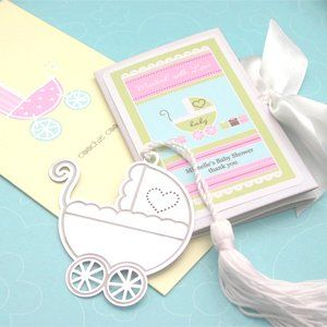 Marked with Love Baby Carriage Bookmark   Baby Shower