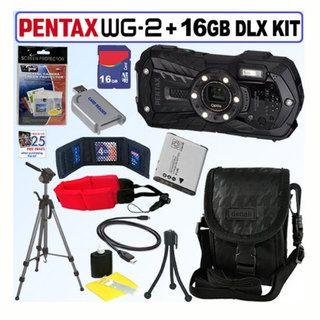 Pentax Optio WG 2 16MP Waterproof Black Digital Camera with 16GB Kit