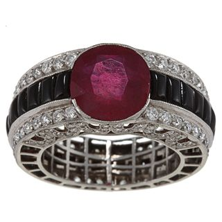 Platinum Ruby, Onyx and 3ct TDW Diamond Estate Ring (I J, SI1 SI2