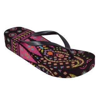 Muk Luks Womens Black Wedge Flip Flops
