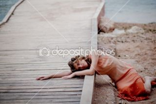 Sad girl on beach  Stock Photo © Alena Ozerova #1245214