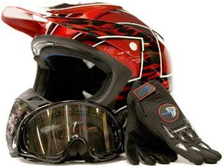 Motocross Helmet Gloves & Goggles ATV Dirt Bike Motorcycle Red 228