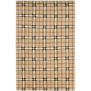 Hand knotted Lexington Plaid Beige Wool Rug (4 x 6)