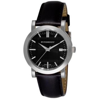 Burberry Mens Heritage Black Leather Strap Watch