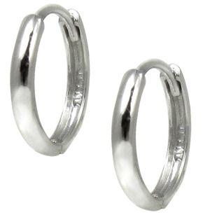 14kt White Gold Rounded Mini Hoop Earrings