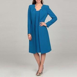 Tahari Womens Pleated Neckline Jacket Dress Suit