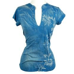 OMGirl Womens Mandarin Neck Weed Print T shirt