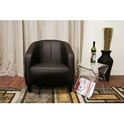 Curved Back Lye Brown Bycast Leather Club Chair