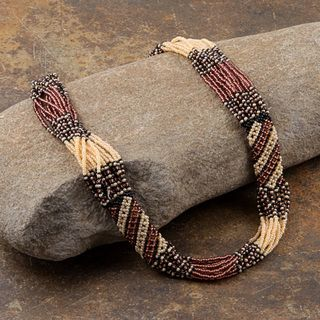 Zulu Bead Rope Brown/ Black/ Pink Tube Necklace (South Africa