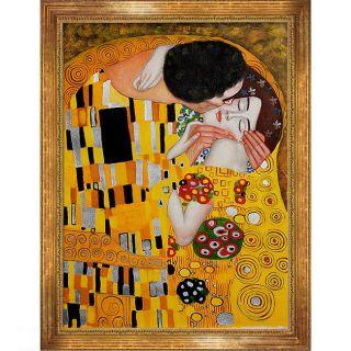 Gustav Klimt The Kiss Framed Canvas Art