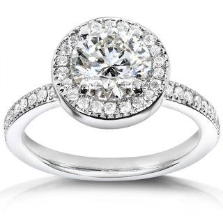 14k White Gold 1 5/8 ct TDW Certified Diamond Engagement Ring (H, SI2