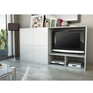 SAMOS Meuble TV Paroi 1 porte 176 cm Blanc/Gris   Achat / Vente MEUBLE
