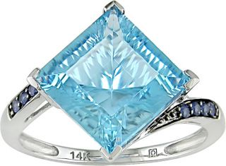 14k White Gold Blue Topaz and Blue Sapphire Ring
