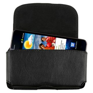 Black Universal Leather Cell Phone Case with Clip