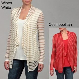 Calvin Klein Womens Sparkle Striped Ruffle Detail Sweater FINAL SALE