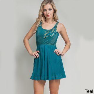 Stanzino Womens Sleeveless Sequin Shoulder Pleated Dress