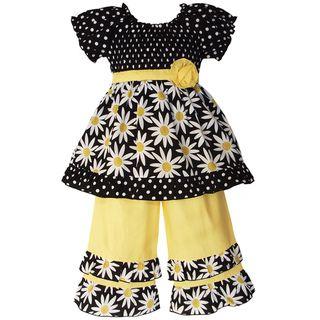 AnnLoren Girls 2 piece Smocked Daisies/ Dot Outfit