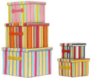 Bright Cotton Fabric Covered Nested Boxes with Leatherette
