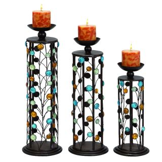 Color Medley Metal Pillar Candle Holders   Set of 3 Today $62.99 5.0
