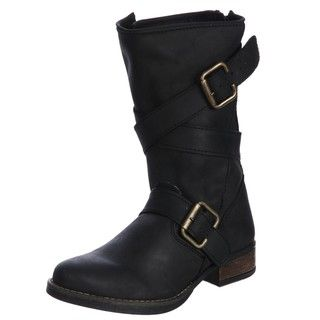 Steven by Steve Madden Womens P Pace Belted Motorcycle Boots