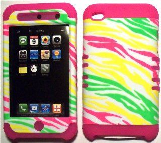 Colorful Zebra on Pink Silicone Skin for Apple ipod Touch