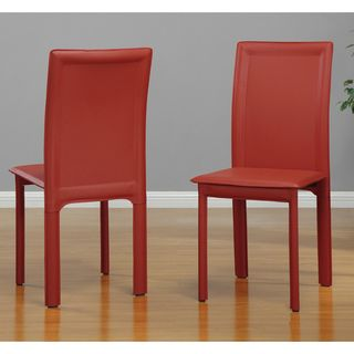 Red Vinyl Dining Chairs (Set of 4)
