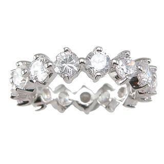 Sterling Silver Round cut Cubic Zirconia Eternity Wedding style Band
