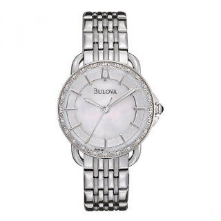 Bulova 96R146 Ladies Diamonds Silver White Watch Watches
