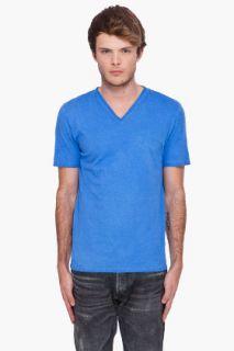 Maison Martin Margiela Blue V neck T shirt for men