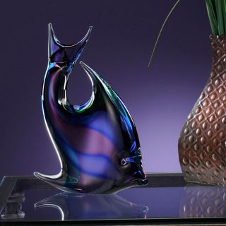 LuckyClover Authentic Murano Glass Clear Multi Striped Fish
