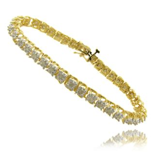 14k Gold Overlay 1 ct TW Diamond Tennis Bracelet