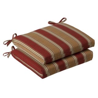 Pillow Perfect Outdoor Red/ Gold Striped Squared Seat Cushions (Set of