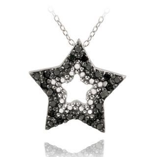 DB Designs Sterling Silver 1/10ct TDW Black Diamond Star Necklace