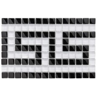 SomerTile 6x9 in Reflections Greek Key 0.5 in Ice White Border Glass