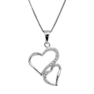 Sterling Silver Diamond Accent Double Heart Necklace