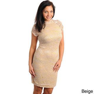 Stanzino Womens Plus Size Short Sleeve Lace Overlay Dress