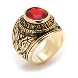 Neno Buscotti Goldplated Mens Red or Blue Crystal Military Ring