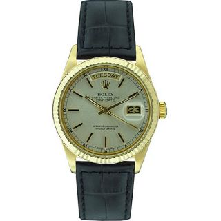 Pre owned Rolex 18038 Mens Day date 18kt Gold Silver Dial Watch