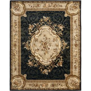 Handmade French Aubusson Black Premium Wool Rug (96 x 136