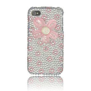 Luxmo Apple iPhone 4/ 4S Hot Pink Flower Rhinestone Case