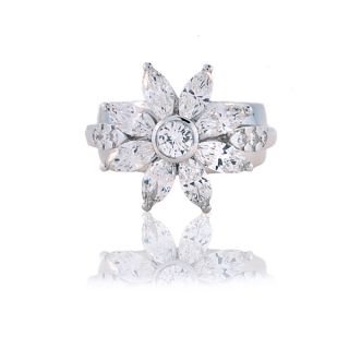 18kt White Gold Marquise Diamond Flower Ring