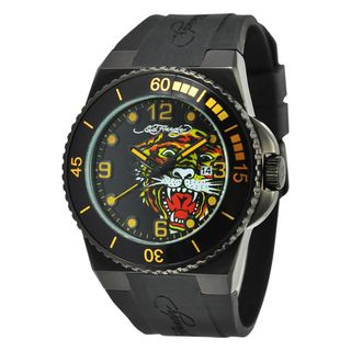 Ed Hardy Mens Black Steel Dive Immersion Tiger Watch
