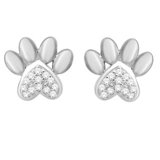 10k White Gold Diamond Accent Dog Paw Print Earrings