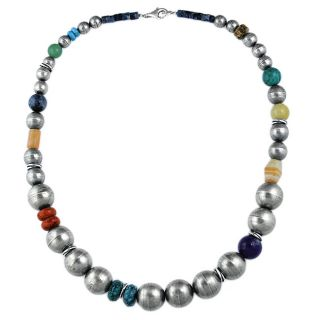 Silvermoon Sterling Silver Multi gemstone Antiqued Bead Necklace