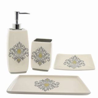 Waverly Bedazzled Gray Ceramic Four piece Bath Accessory Set Today $