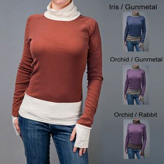 AtoZ Womens Rib Trim Turtleneck with Thumbholes