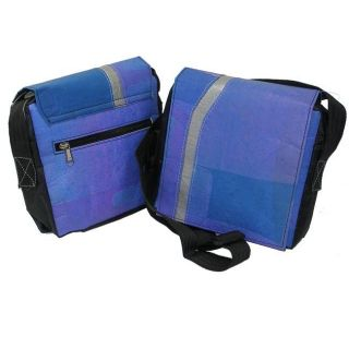 Recycled Plastic Blue Queenie Messenger Bag (India)