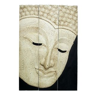 Large Acacia Wood Crackling White Three Panel Buddha Face