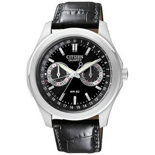 Citizen Mens Black Leather Strap Watch